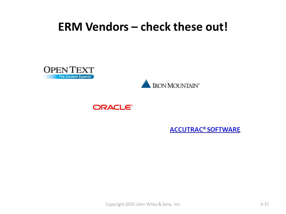 ERM Vendors – check these out! Copyright 2010 John Wiley & Sons, Inc.3-37 ACCUTRAC® SOFTWARE