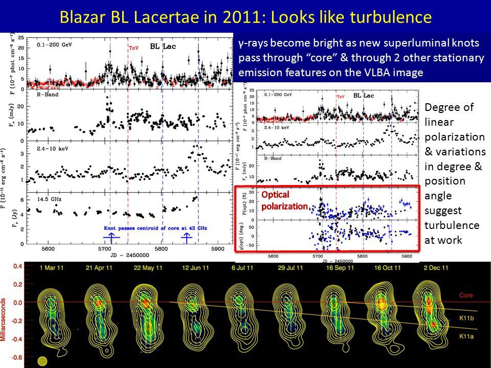Blazar BL Lacertae in 2011: Looks like turbulence γ-rays become bright as new superluminal knots pass through core & through 2 other stationary emission features on the VLBA image Degree of linear polarization & variations in degree & position angle suggest turbulence at work