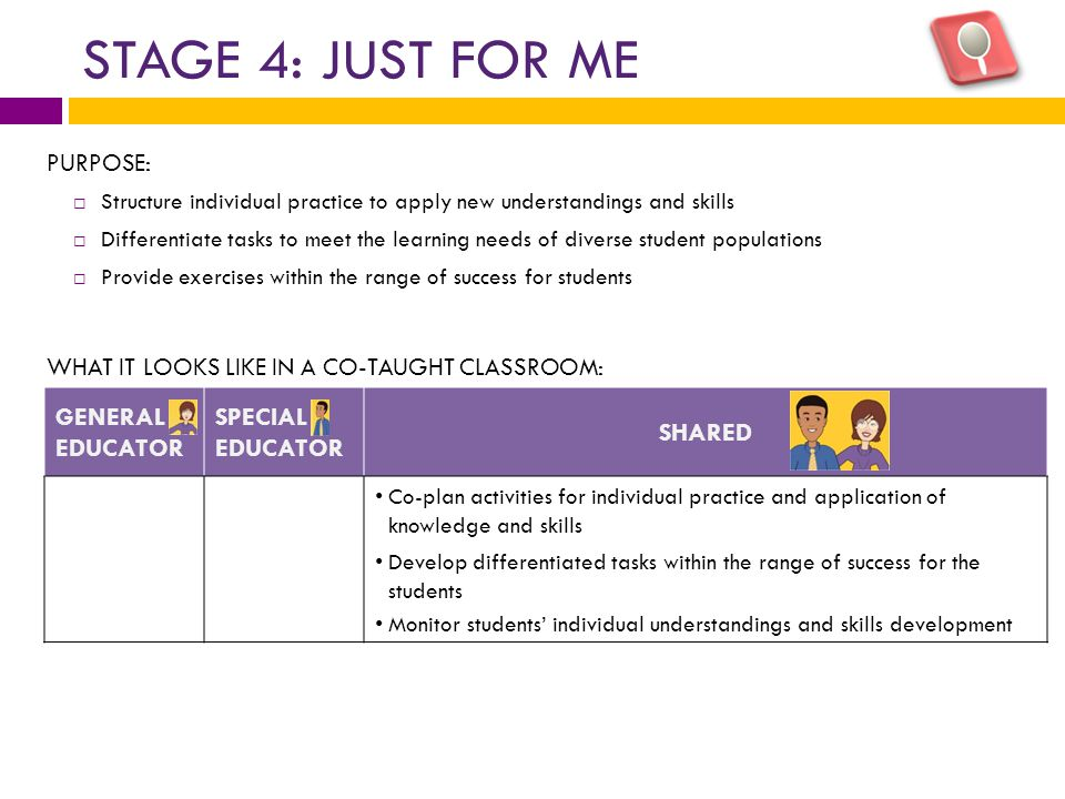 STAGE 4: JUST FOR ME PURPOSE:  Structure individual practice to apply new understandings and skills  Differentiate tasks to meet the learning needs of diverse student populations  Provide exercises within the range of success for students WHAT IT LOOKS LIKE IN A CO-TAUGHT CLASSROOM: GENERAL EDUCATOR SPECIAL EDUCATOR SHARED Co-plan activities for individual practice and application of knowledge and skills Develop differentiated tasks within the range of success for the students Monitor students' individual understandings and skills development