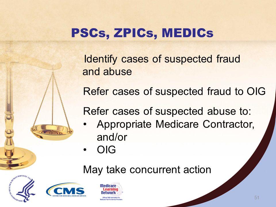 50 Investigating Entities PSCs/ZPICs/MEDICs OIG DOJ HEAT
