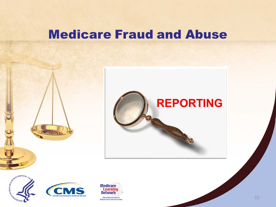 Health Care Fraud Prevention and Enforcement Action Team (HEAT) Gathers Government resources to Help prevent waste, fraud, and abuse in the Medicare and Medicaid Programs, and Crack down on fraud perpetrators who abuse the system Reduces health care costs and improves the quality of care Highlights best practices by providers and public sector employees Builds upon existing partnerships between the DOJ and OIG Maintains the Stop Medicare Fraud website 54