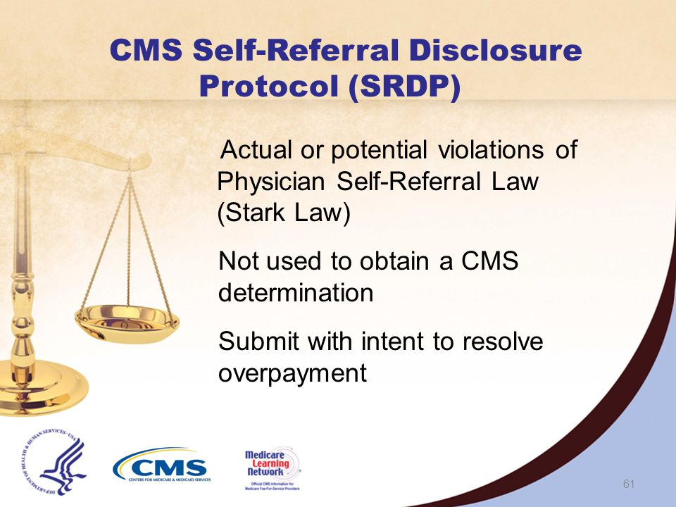 60 OIG Provider Self-Disclosure Protocol (SDP) Avoid costs and disruptions OIG works cooperatively