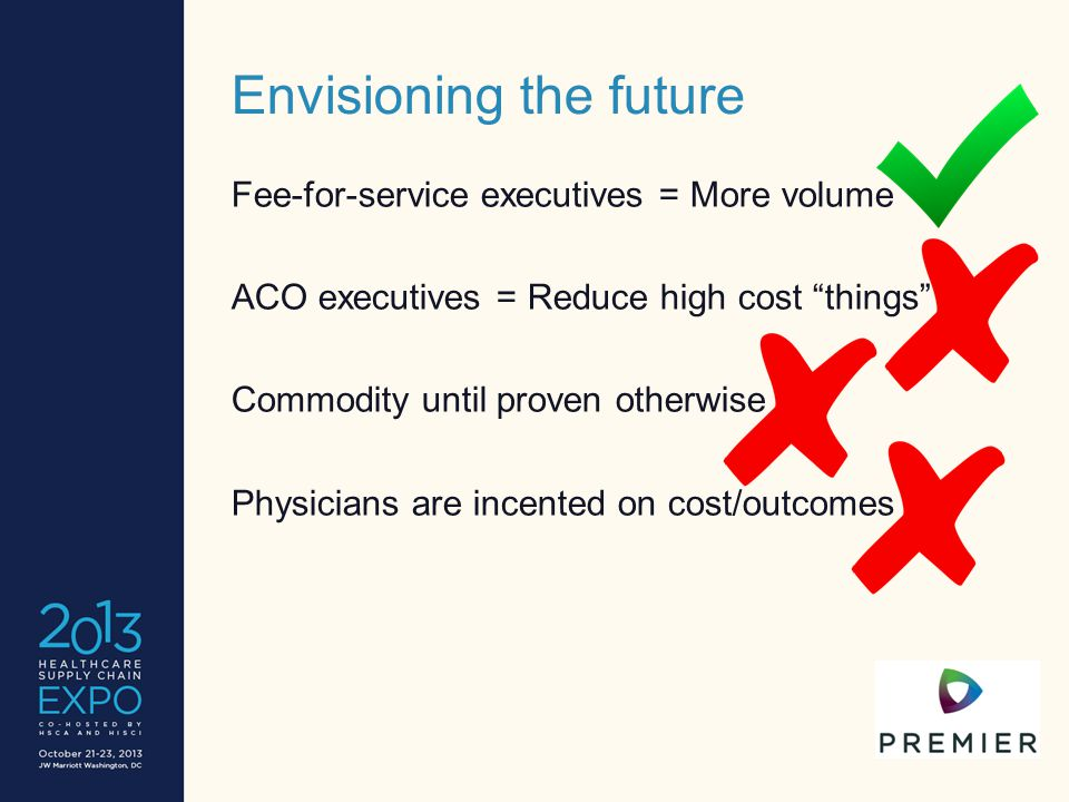 """Envisioning the future Fee-for-service executives = More volume ACO executives = Reduce high cost """"things"""" Commodity until proven otherwise Physicians"""
