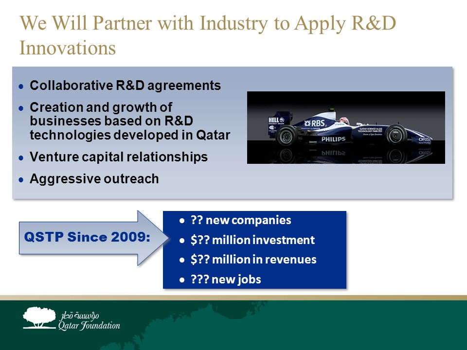 We Will Partner with Industry to Apply R&D Innovations  Collaborative R&D agreements  Creation and growth of businesses based on R&D technologies developed in Qatar  Venture capital relationships  Aggressive outreach  .