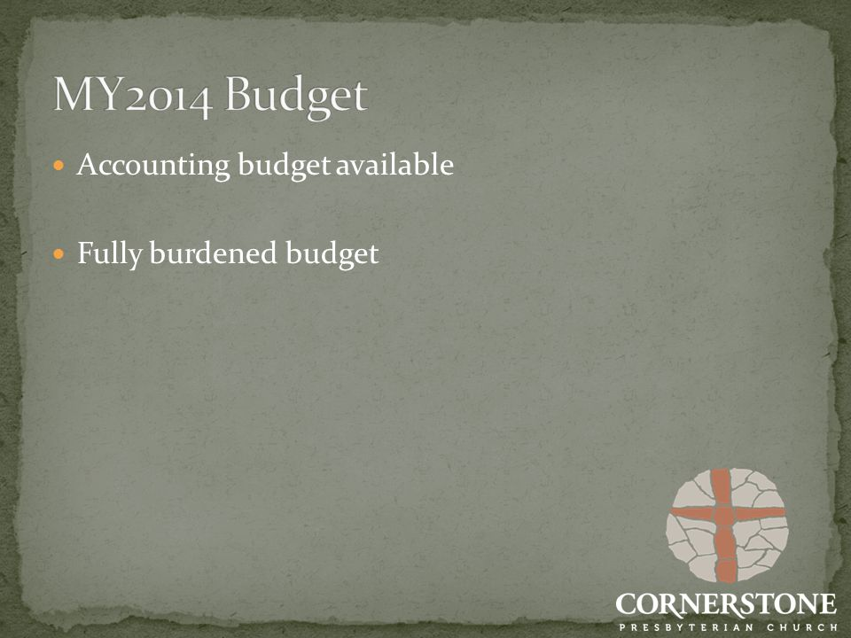 Accounting budget available Fully burdened budget