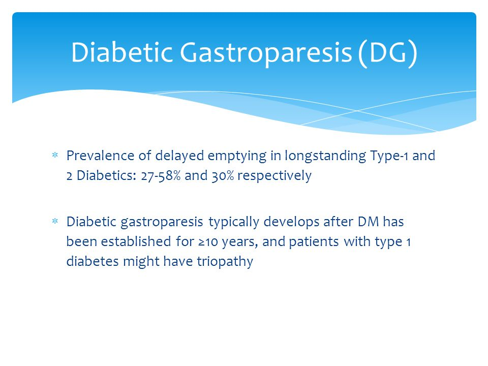  20 patients (6 men and 14 women) of diabetes mellitus (16 with type-1 DM, 4 with Type-2 DM)  No differences in mean gastric emptying of the solid component (retention at 100 minutes at baseline: 56% +/- 19% vs.