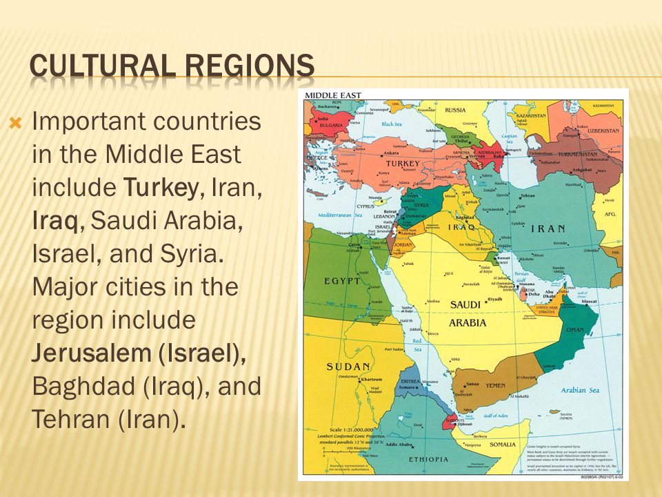  Important countries in the Middle East include Turkey, Iran, Iraq, Saudi Arabia, Israel, and Syria. Major cities in the region include Jerusalem (Is