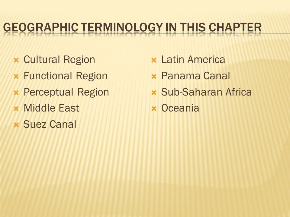  Cultural Region  Functional Region  Perceptual Region  Middle East  Suez Canal  Latin America  Panama Canal  Sub-Saharan Africa  Oceania