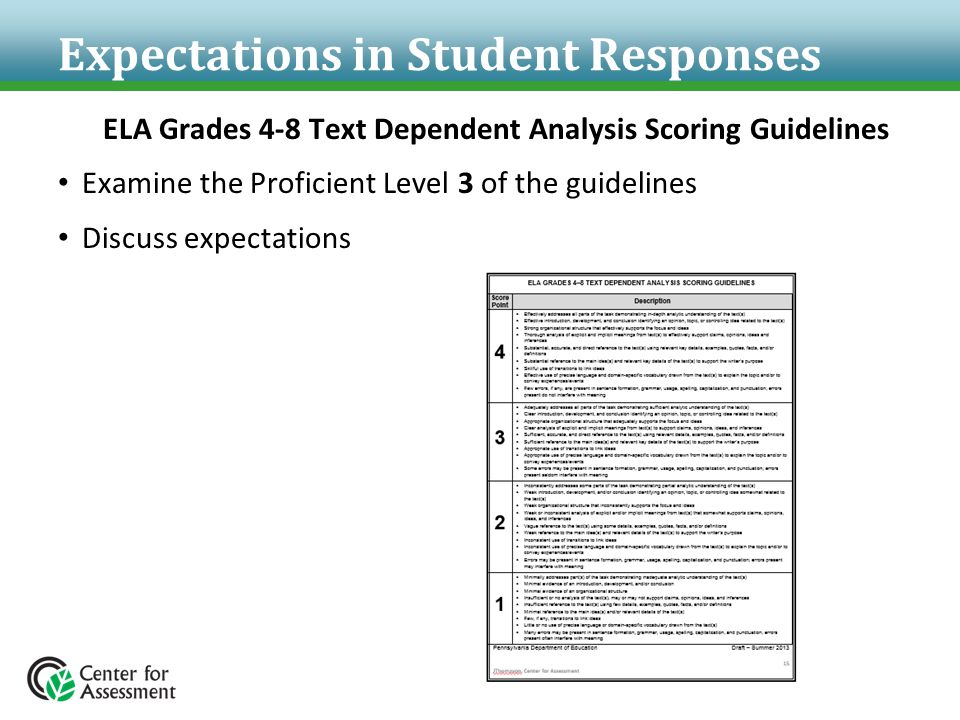 Expectations in Student Responses ELA Grades 4-8 Text Dependent Analysis Scoring Guidelines Examine the Proficient Level 3 of the guidelines Discuss e