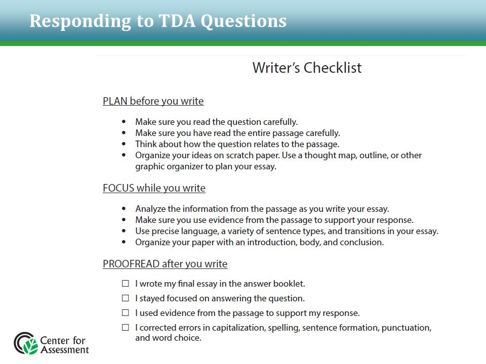 Responding to TDA Questions