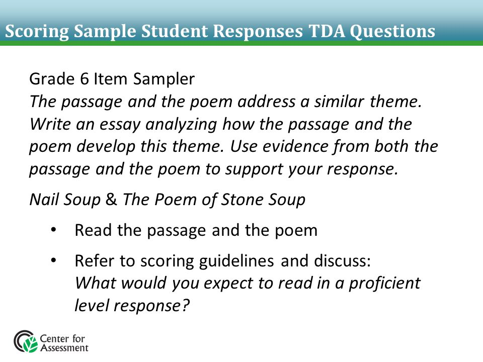 Scoring Sample Student Responses TDA Questions Grade 6 Item Sampler The passage and the poem address a similar theme. Write an essay analyzing how the