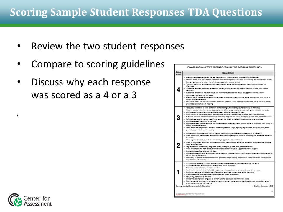 Scoring Sample Student Responses TDA Questions Review the two student responses Compare to scoring guidelines Discuss why each response was scored as