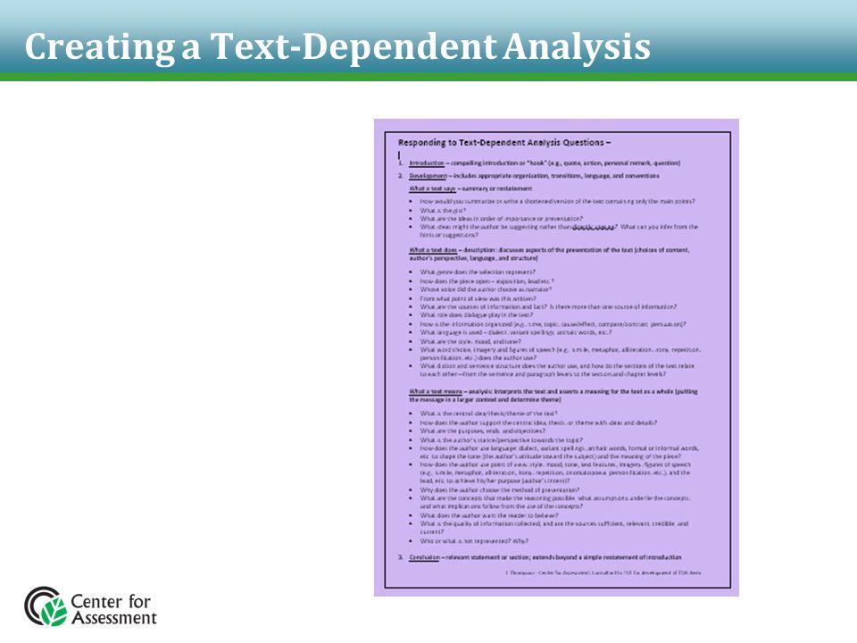 Creating a Text-Dependent Analysis