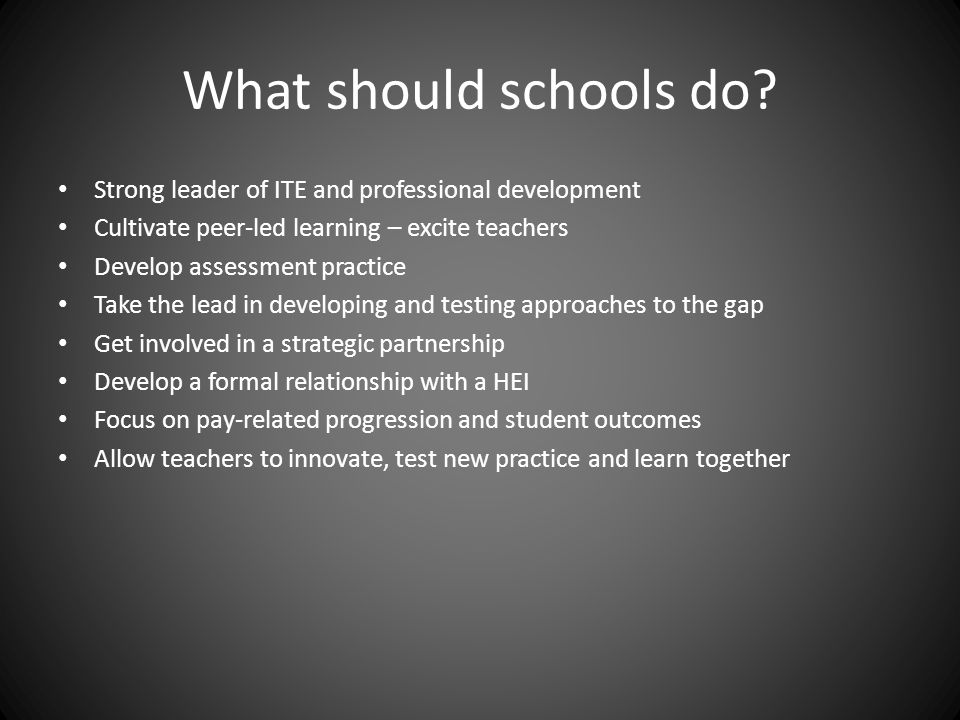 What should schools do.