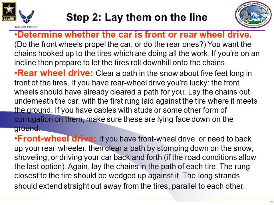 10 Step 2: Lay them on the line Determine whether the car is front or rear wheel drive.