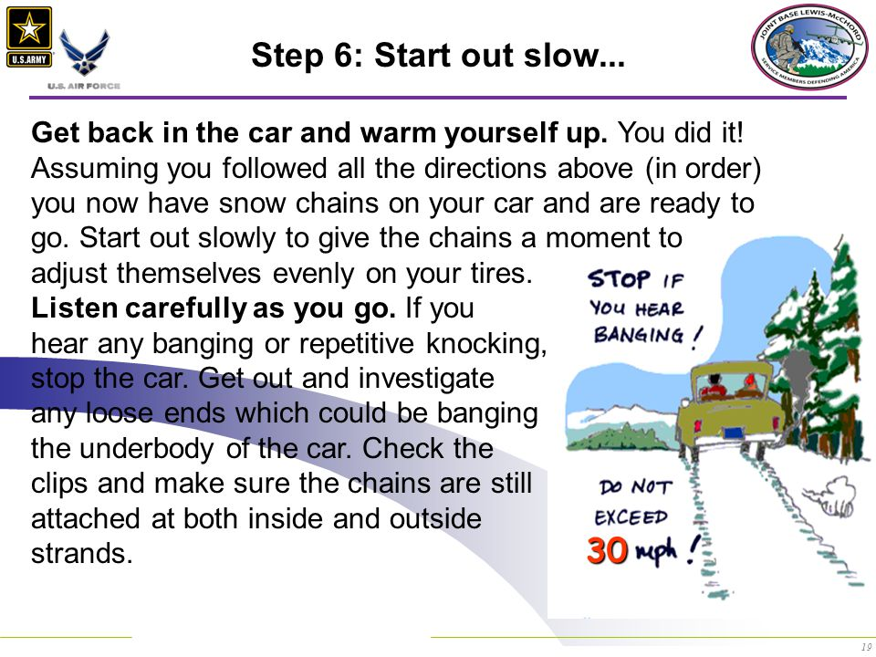 19 Step 6: Start out slow... Get back in the car and warm yourself up.