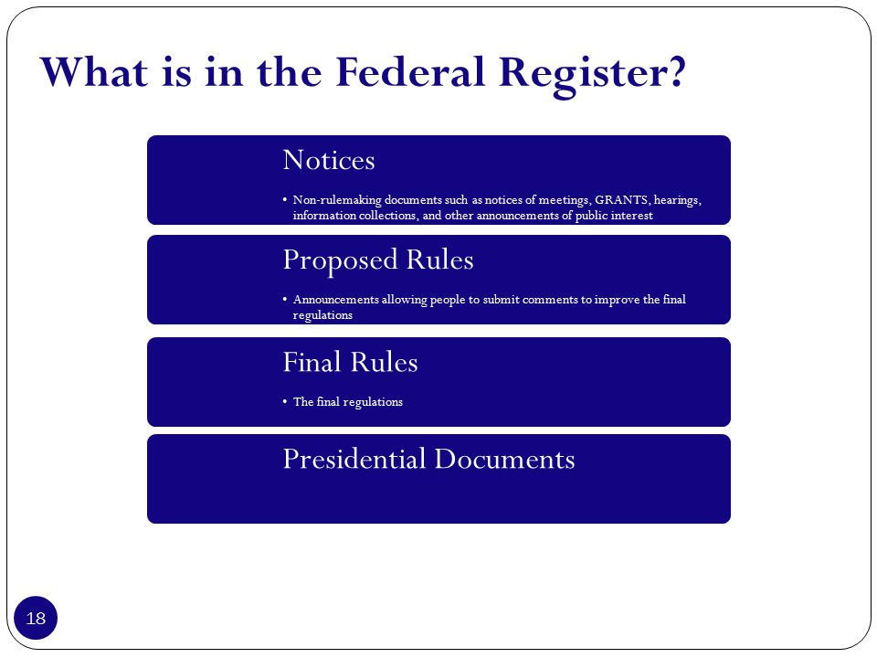 What is in the Federal Register.