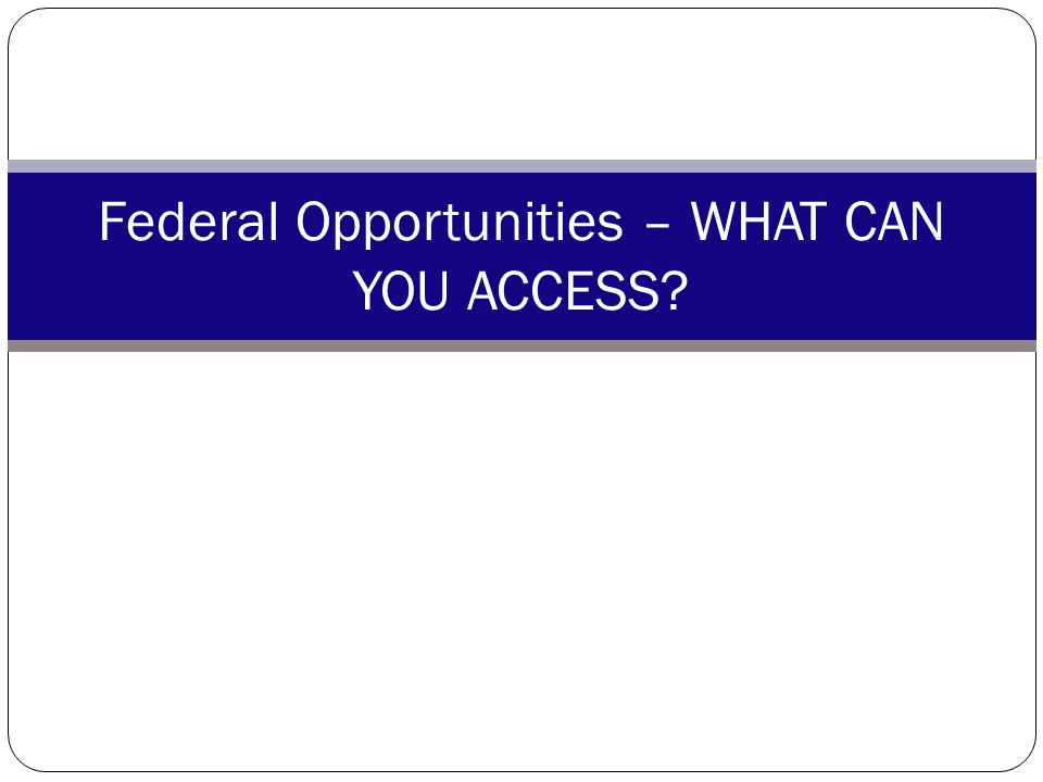 Federal Opportunities – WHAT CAN YOU ACCESS
