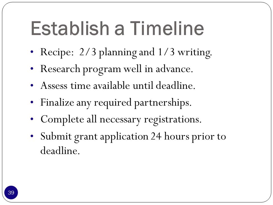 Establish a Timeline Recipe: 2/3 planning and 1/3 writing.