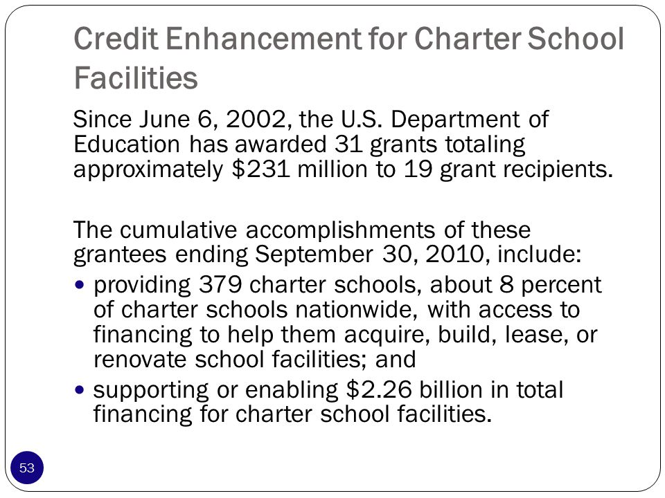 Credit Enhancement for Charter School Facilities Since June 6, 2002, the U.S.
