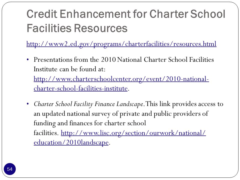 Credit Enhancement for Charter School Facilities Resources http://www2.ed.gov/programs/charterfacilities/resources.html Presentations from the 2010 National Charter School Facilities Institute can be found at: http://www.charterschoolcenter.org/event/2010-national- charter-school-facilities-institute.