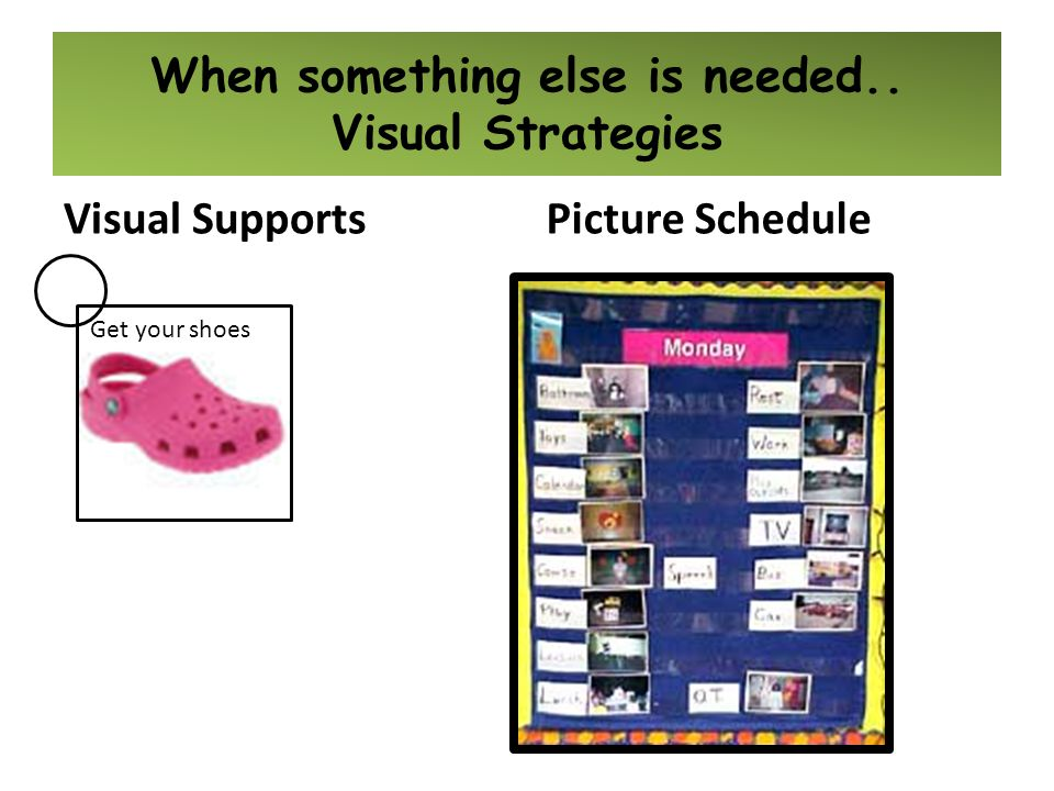 Visual Supports When something else is needed.. Visual Strategies Get your shoes Picture Schedule