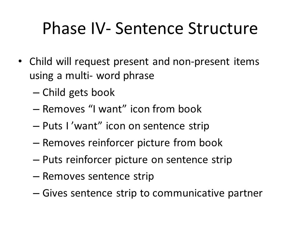 """Phase IV- Sentence Structure Child will request present and non-present items using a multi- word phrase – Child gets book – Removes """"I want"""" icon fro"""