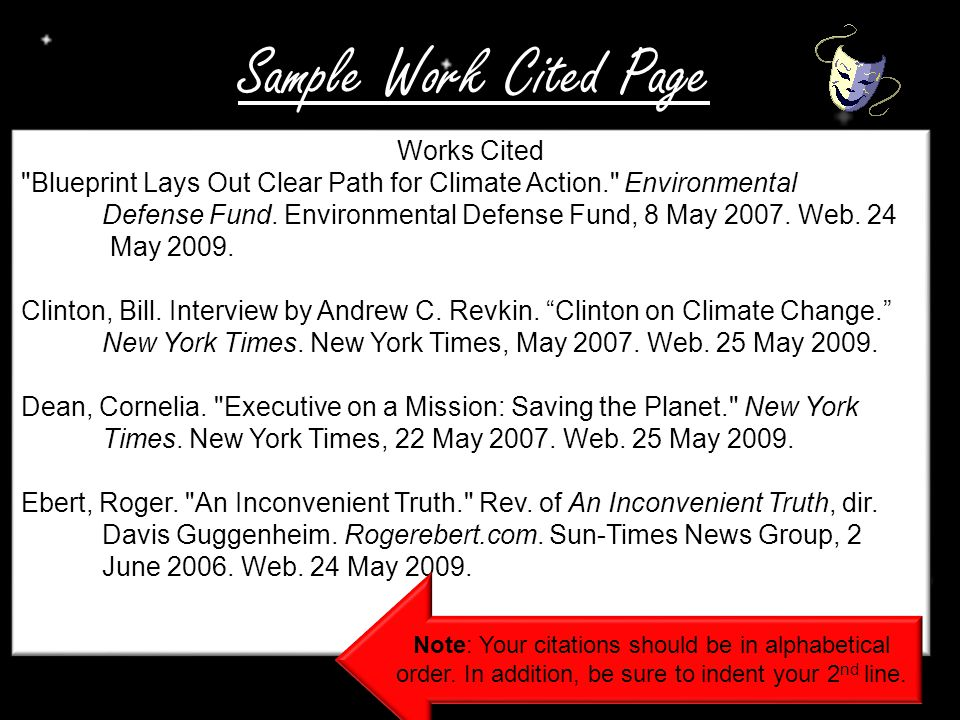 Sample Work Cited Page Works Cited Blueprint Lays Out Clear Path for Climate Action. Environmental Defense Fund.