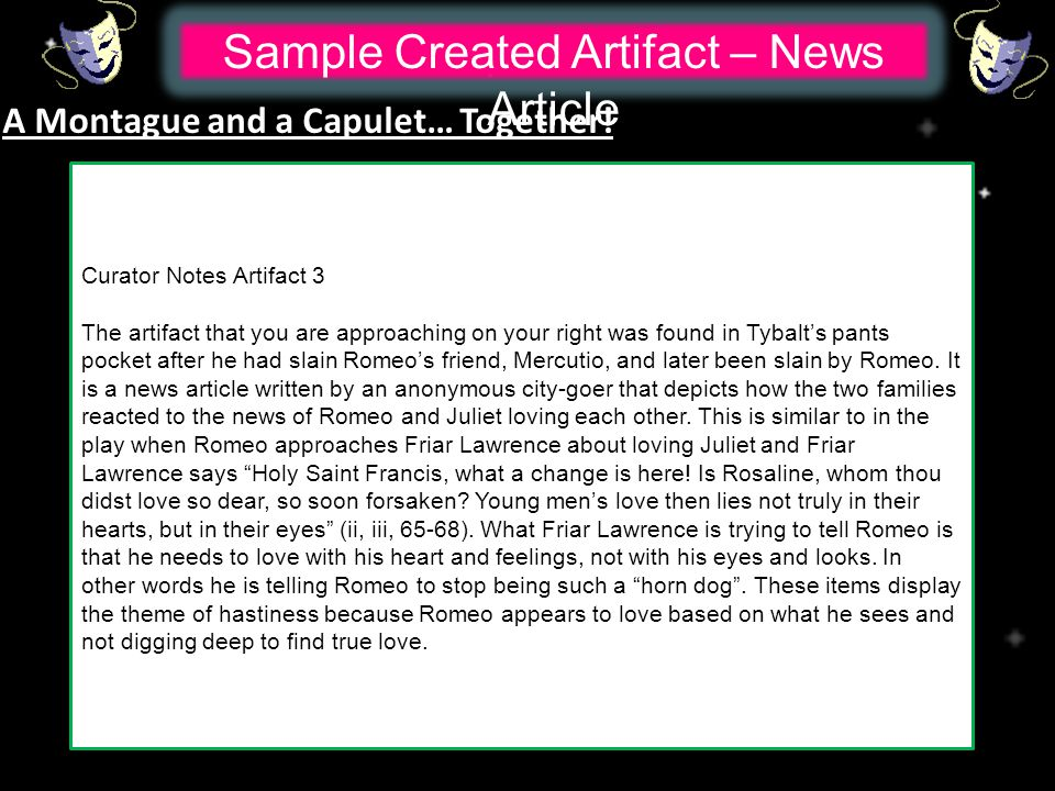 Sample Created Artifact – News Article A Montague and a Capulet… Together.