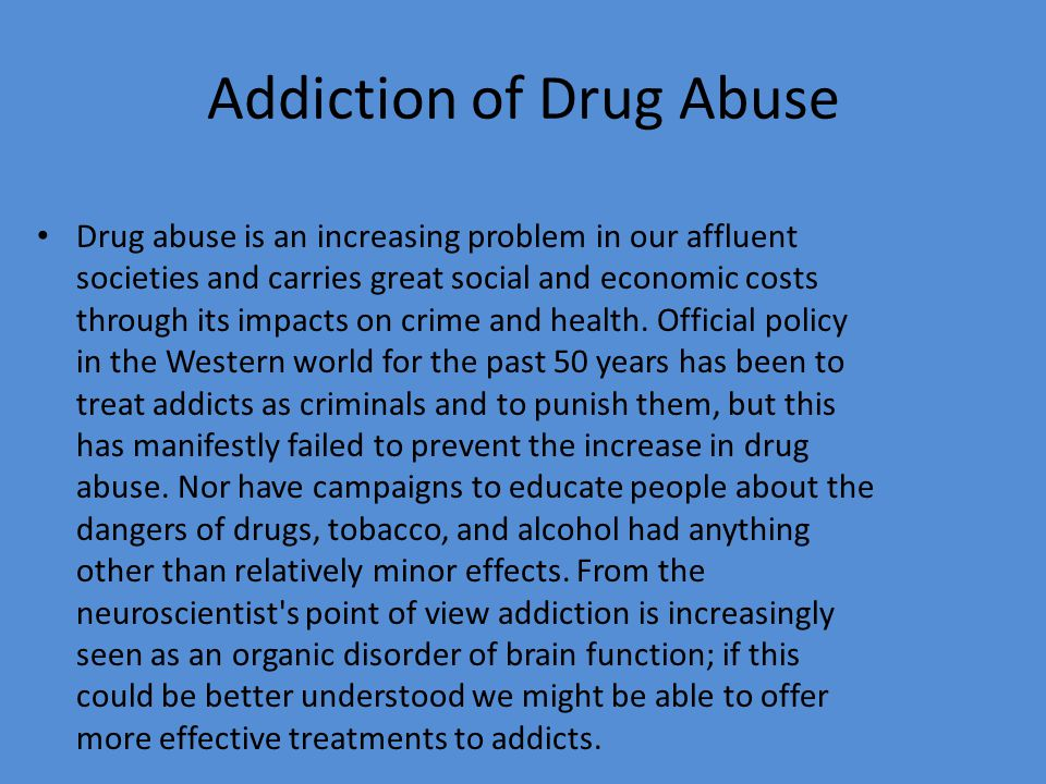 Thesis Statement Drug Addiction