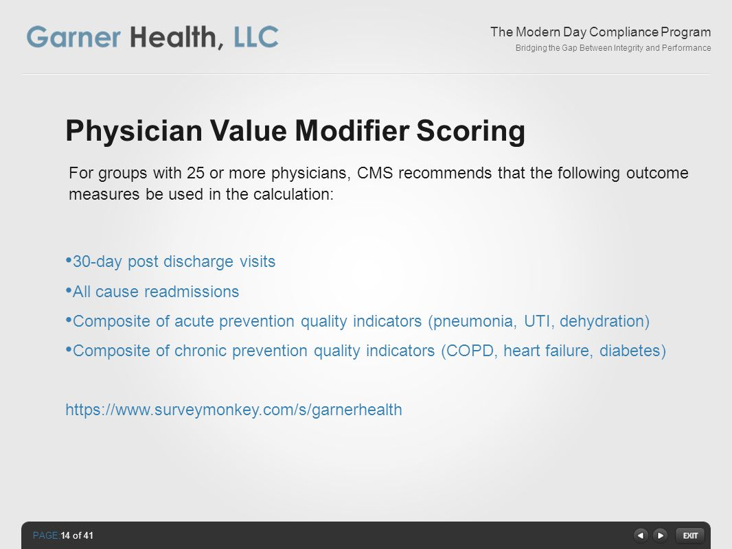 PAGE: The Modern Day Compliance Program Bridging the Gap Between Integrity and Performance Physician Value Modifier Scoring 30-day post discharge visits All cause readmissions Composite of acute prevention quality indicators (pneumonia, UTI, dehydration) Composite of chronic prevention quality indicators (COPD, heart failure, diabetes) https://www.surveymonkey.com/s/garnerhealth For groups with 25 or more physicians, CMS recommends that the following outcome measures be used in the calculation: 14 of 41