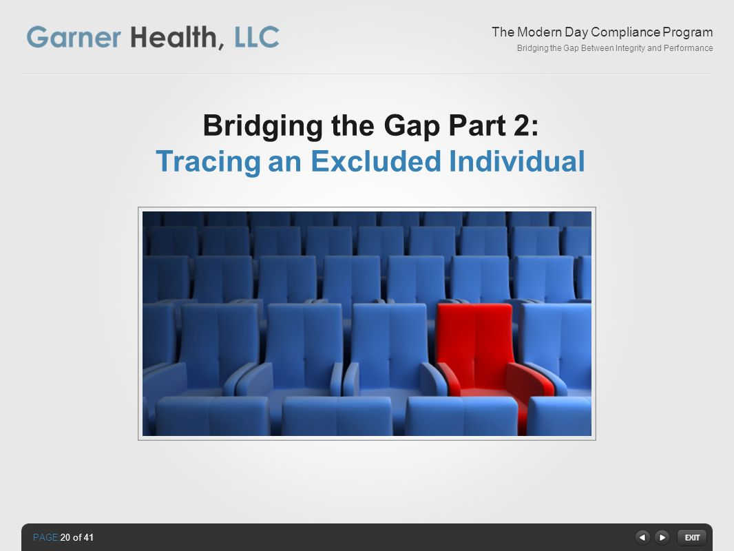 PAGE: The Modern Day Compliance Program Bridging the Gap Between Integrity and Performance Bridging the Gap Part 2: Tracing an Excluded Individual 20 of 41