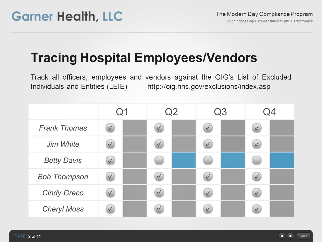 PAGE: The Modern Day Compliance Program Bridging the Gap Between Integrity and Performance Tracing Hospital Employees/Vendors Track all officers, employees and vendors against the OIG's List of Excluded Individuals and Entities (LEIE) http://oig.hhs.gov/exclusions/index.asp 2 of 41