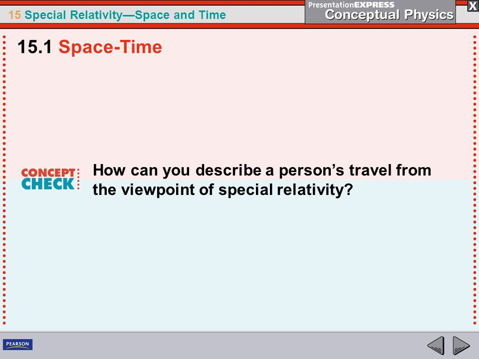 15 Special Relativity—Space and Time How can you describe a person's travel from the viewpoint of special relativity.