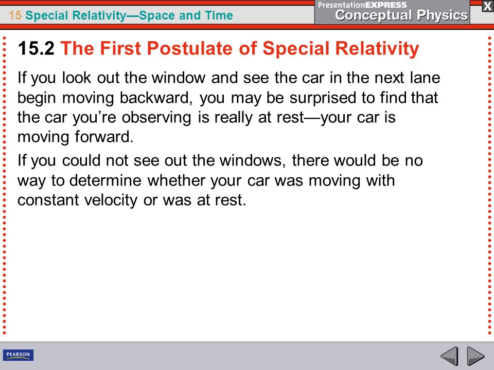 15 Special Relativity—Space and Time If you look out the window and see the car in the next lane begin moving backward, you may be surprised to find that the car you're observing is really at rest—your car is moving forward.