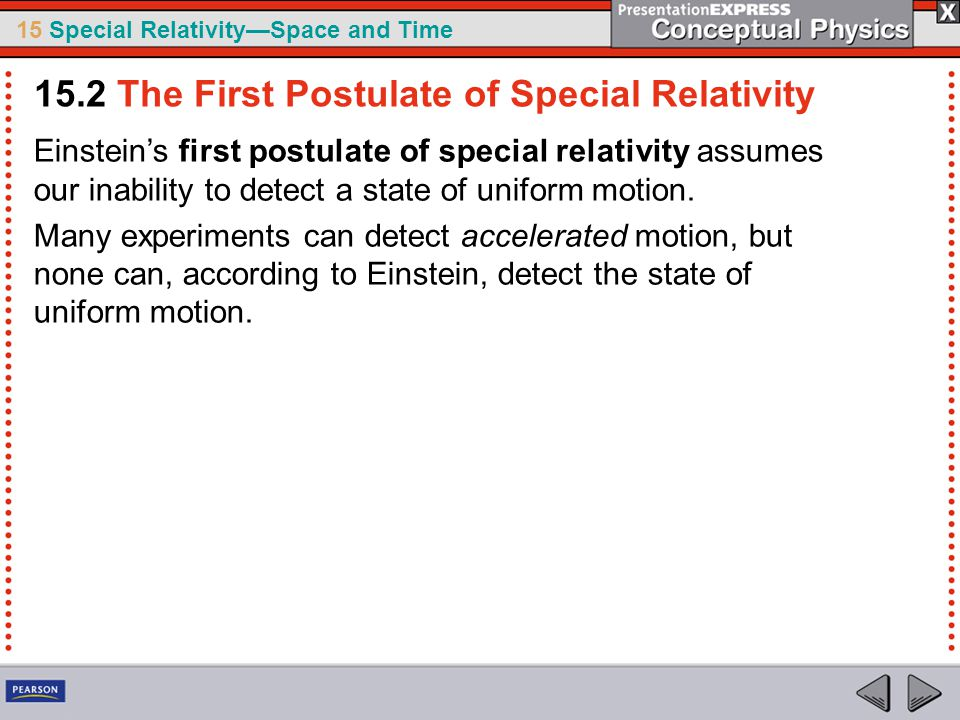 15 Special Relativity—Space and Time Einstein's first postulate of special relativity assumes our inability to detect a state of uniform motion.