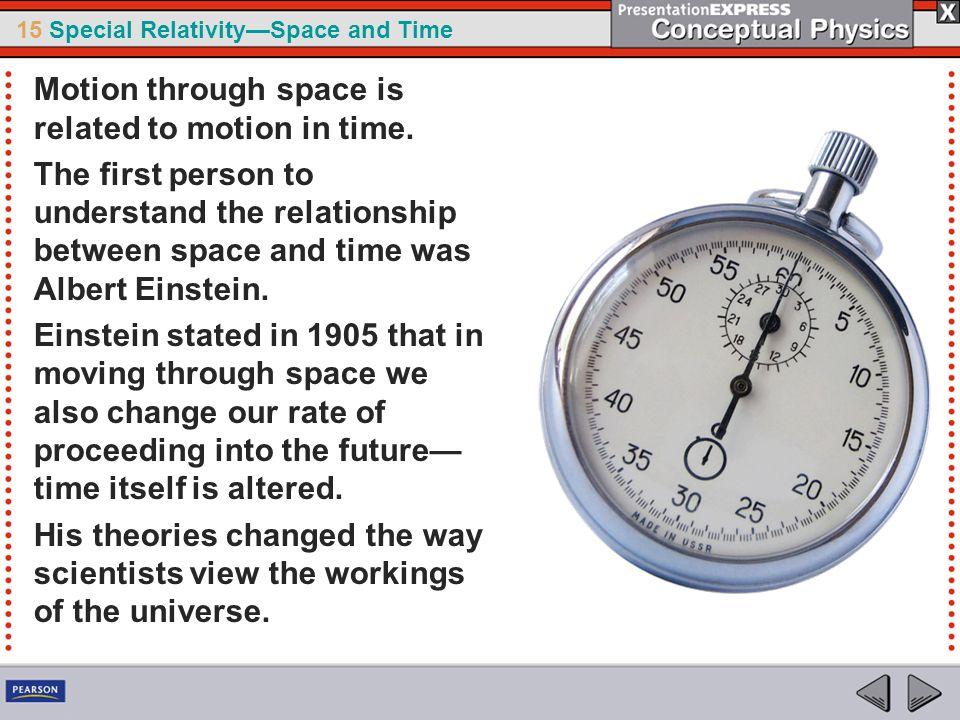 15 Special Relativity—Space and Time Motion through space is related to motion in time.