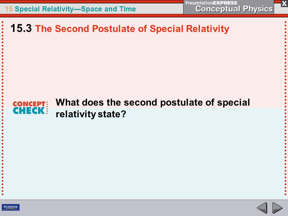 15 Special Relativity—Space and Time What does the second postulate of special relativity state.