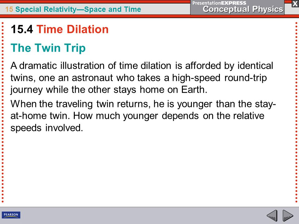 15 Special Relativity—Space and Time The Twin Trip A dramatic illustration of time dilation is afforded by identical twins, one an astronaut who takes a high-speed round-trip journey while the other stays home on Earth.