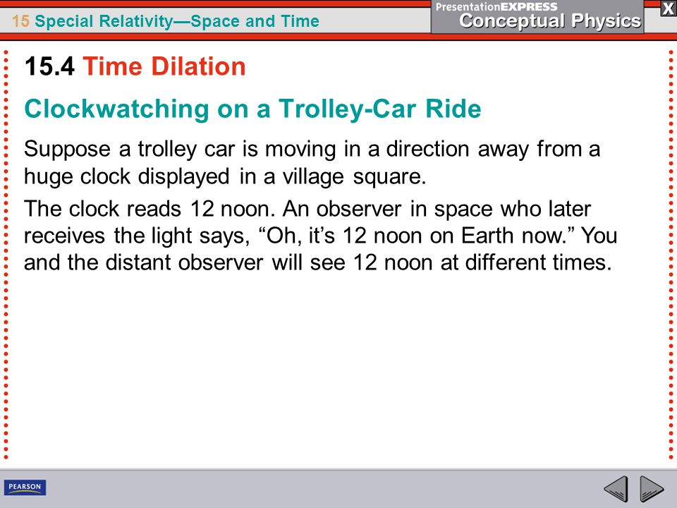 15 Special Relativity—Space and Time Clockwatching on a Trolley-Car Ride Suppose a trolley car is moving in a direction away from a huge clock displayed in a village square.