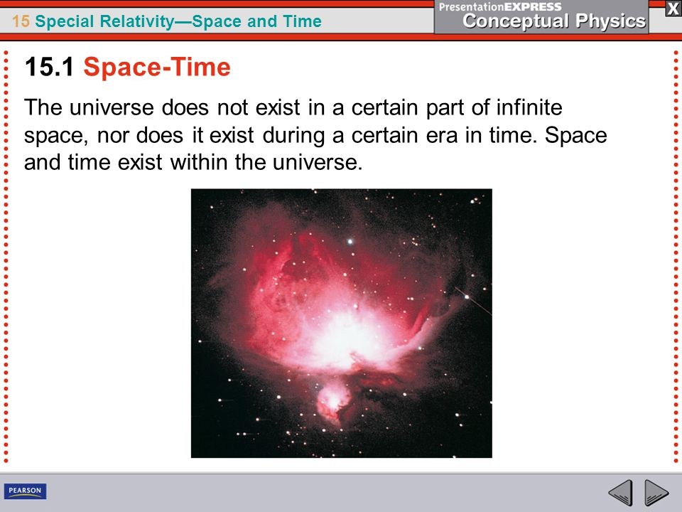 15 Special Relativity—Space and Time The universe does not exist in a certain part of infinite space, nor does it exist during a certain era in time.