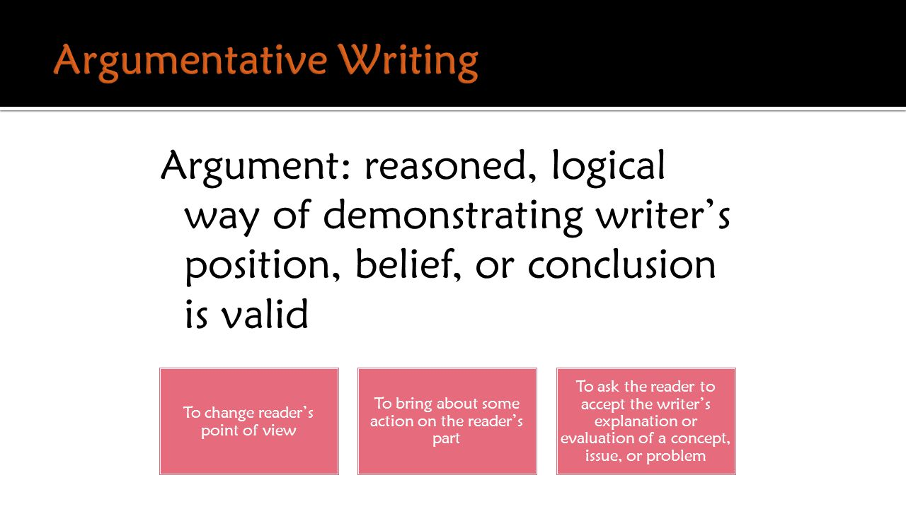Argument: reasoned, logical way of demonstrating writer's position, belief, or conclusion is valid To change reader's point of view To bring about some action on the reader's part To ask the reader to accept the writer's explanation or evaluation of a concept, issue, or problem