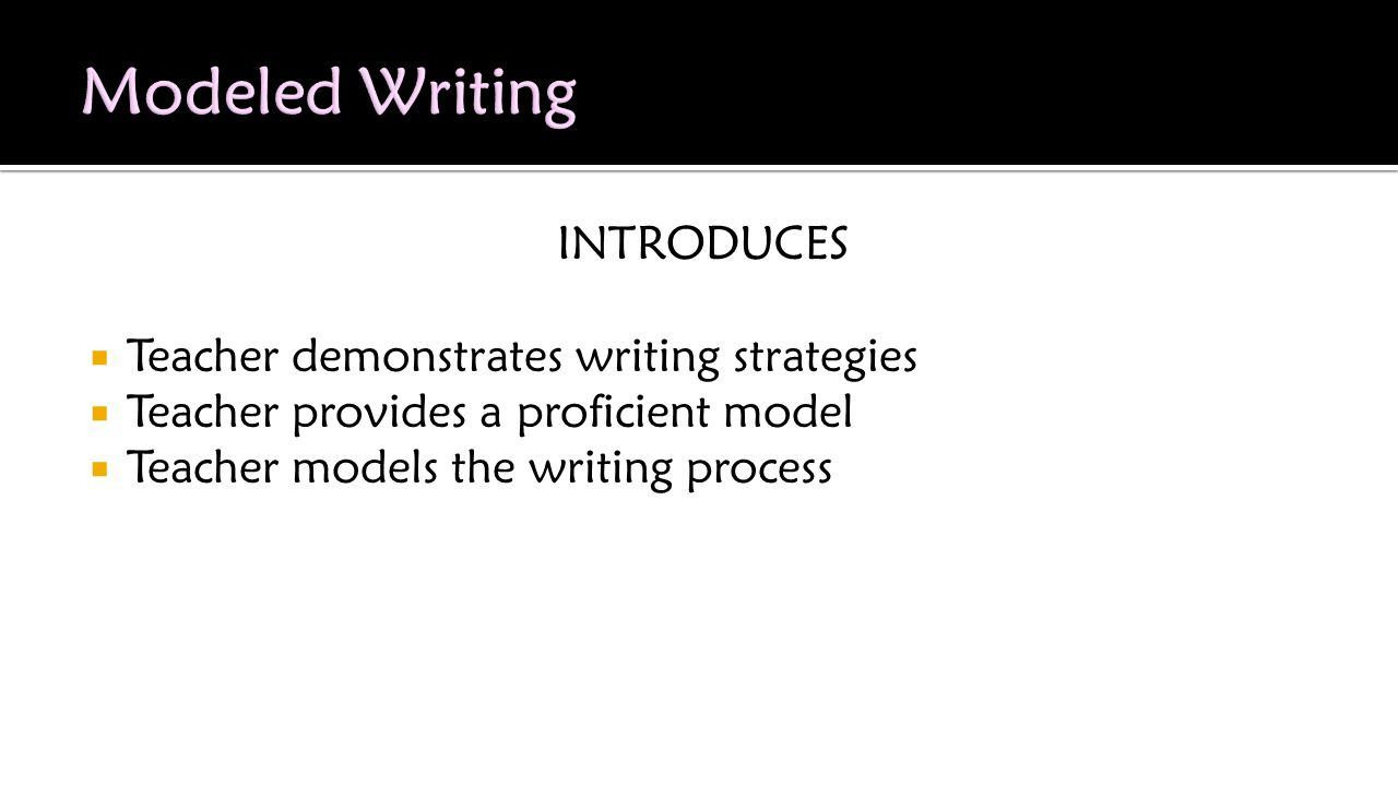 INTRODUCES  Teacher demonstrates writing strategies  Teacher provides a proficient model  Teacher models the writing process