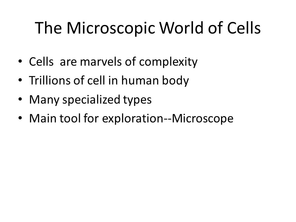 The Microscopic World of Cells Cells are marvels of complexity Trillions of cell in human body Many specialized types Main tool for exploration--Micro