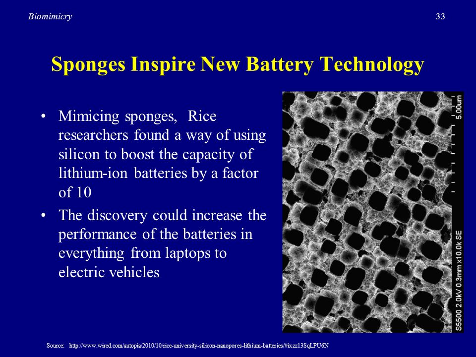 33Biomimicry Sponges Inspire New Battery Technology Mimicing sponges, Rice researchers found a way of using silicon to boost the capacity of lithium-ion batteries by a factor of 10 The discovery could increase the performance of the batteries in everything from laptops to electric vehicles Source: http://www.wired.com/autopia/2010/10/rice-university-silicon-nanopores-lithium-batteries/#ixzz13SqLPU6N