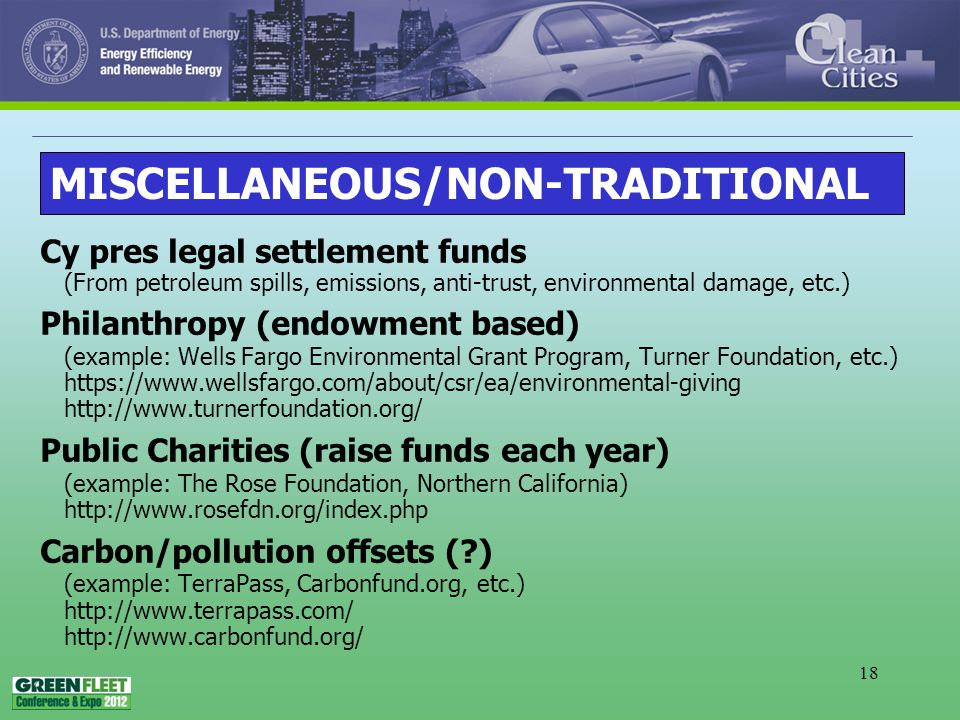 18 Cy pres legal settlement funds (From petroleum spills, emissions, anti-trust, environmental damage, etc.) Philanthropy (endowment based) (example: Wells Fargo Environmental Grant Program, Turner Foundation, etc.) https://www.wellsfargo.com/about/csr/ea/environmental-giving http://www.turnerfoundation.org/ Public Charities (raise funds each year) (example: The Rose Foundation, Northern California) http://www.rosefdn.org/index.php Carbon/pollution offsets ( ) (example: TerraPass, Carbonfund.org, etc.) http://www.terrapass.com/ http://www.carbonfund.org/ MISCELLANEOUS/NON-TRADITIONAL
