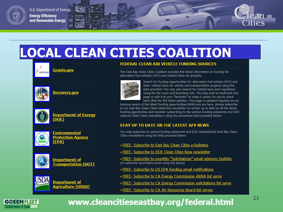 23 www.cleancitieseastbay.org/federal.html LOCAL CLEAN CITIES COALITION