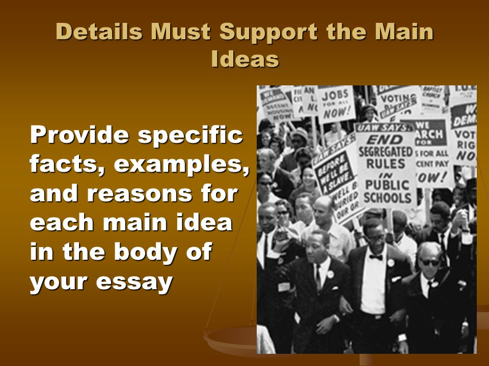 Details Must Support the Main Ideas Provide specific facts, examples, and reasons for each main idea in the body of your essay