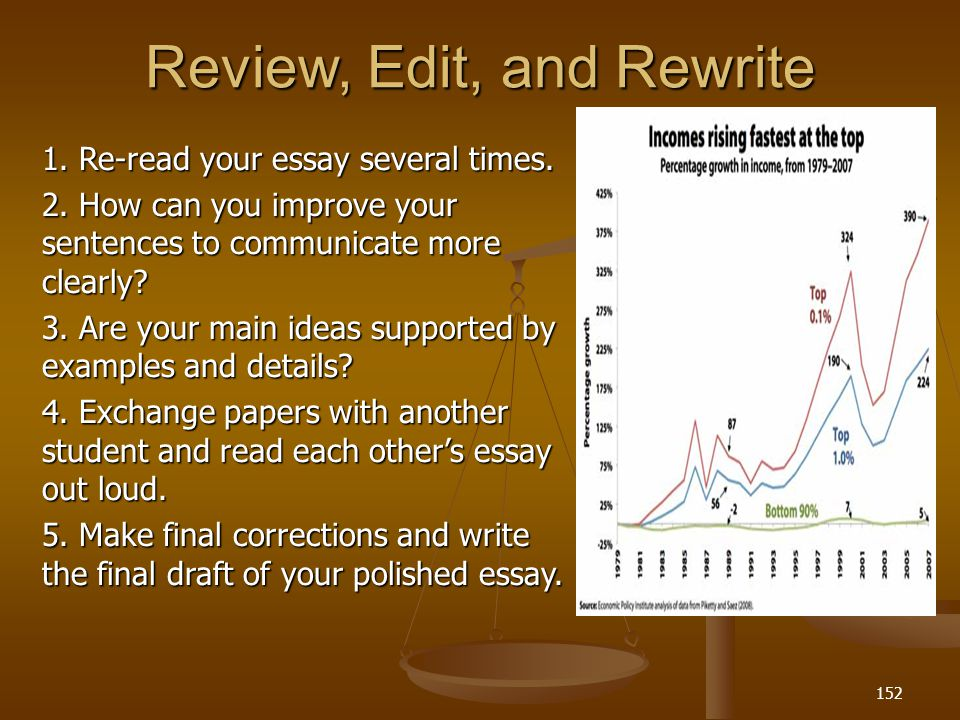 Review, Edit, and Rewrite 1. Re-read your essay several times.
