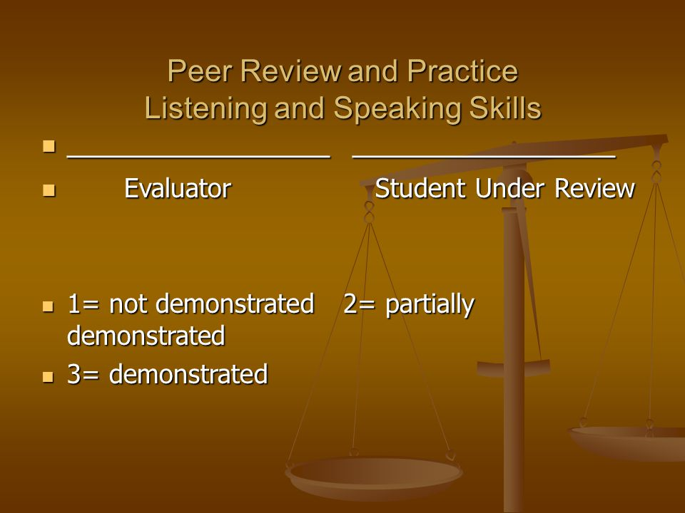 Peer Review and Practice Listening and Speaking Skills ________________ ________________ ________________ ________________ Evaluator Student Under Review Evaluator Student Under Review 1= not demonstrated 2= partially demonstrated 1= not demonstrated 2= partially demonstrated 3= demonstrated 3= demonstrated